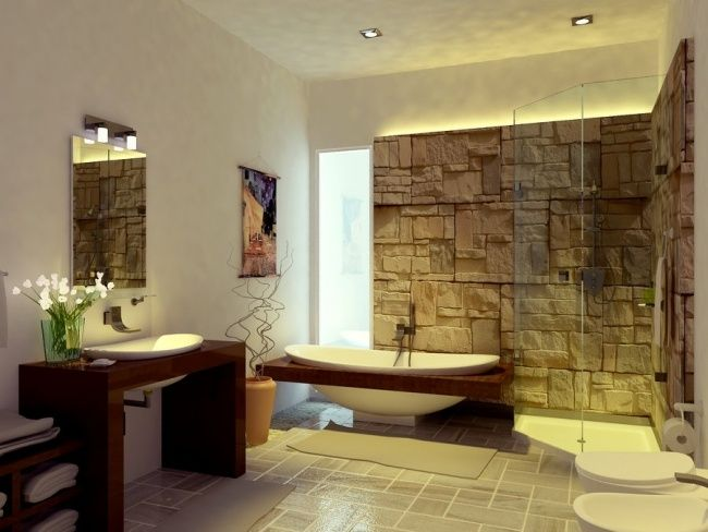 Zen Bad Ohne Fliesen Natursteinwand Glas Duschkabine Holz