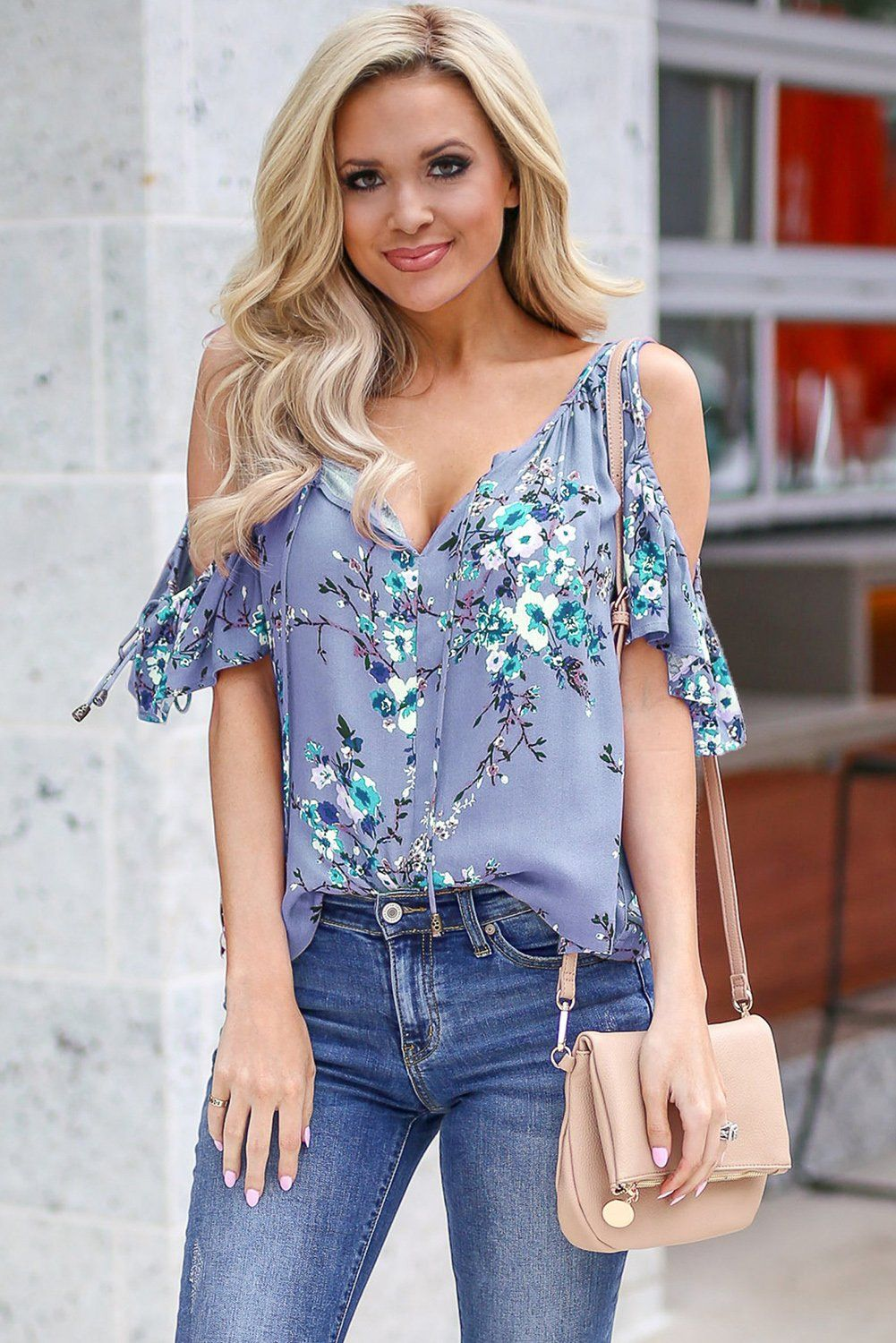 03238315a058e0 Printed Ruffle-Trim Cold Shoulder Tops | BEADED CREATIONS | Women's ...