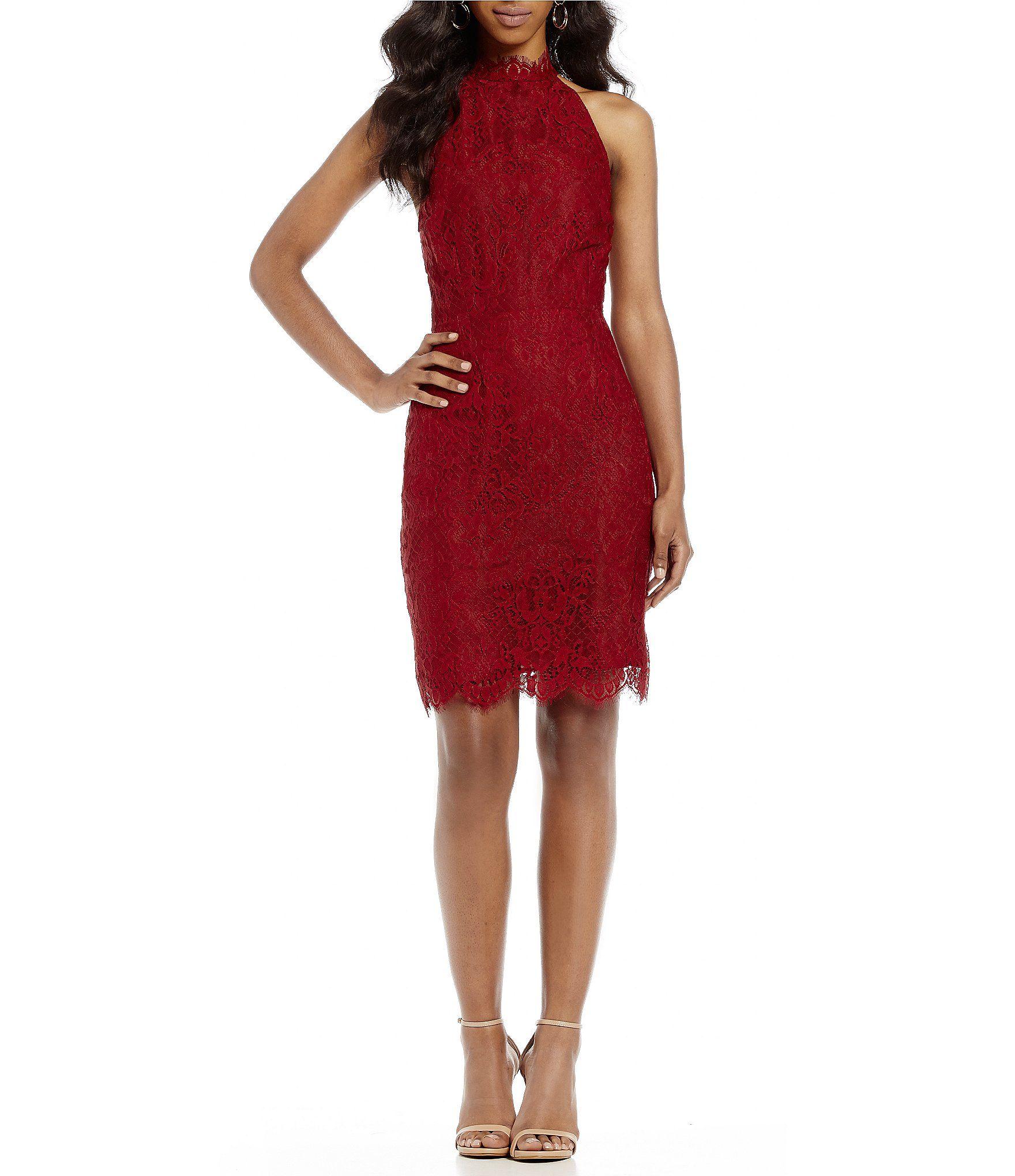 BB Dakota Cherie Scalloped Illusion Lace Sheath Dress Dillards