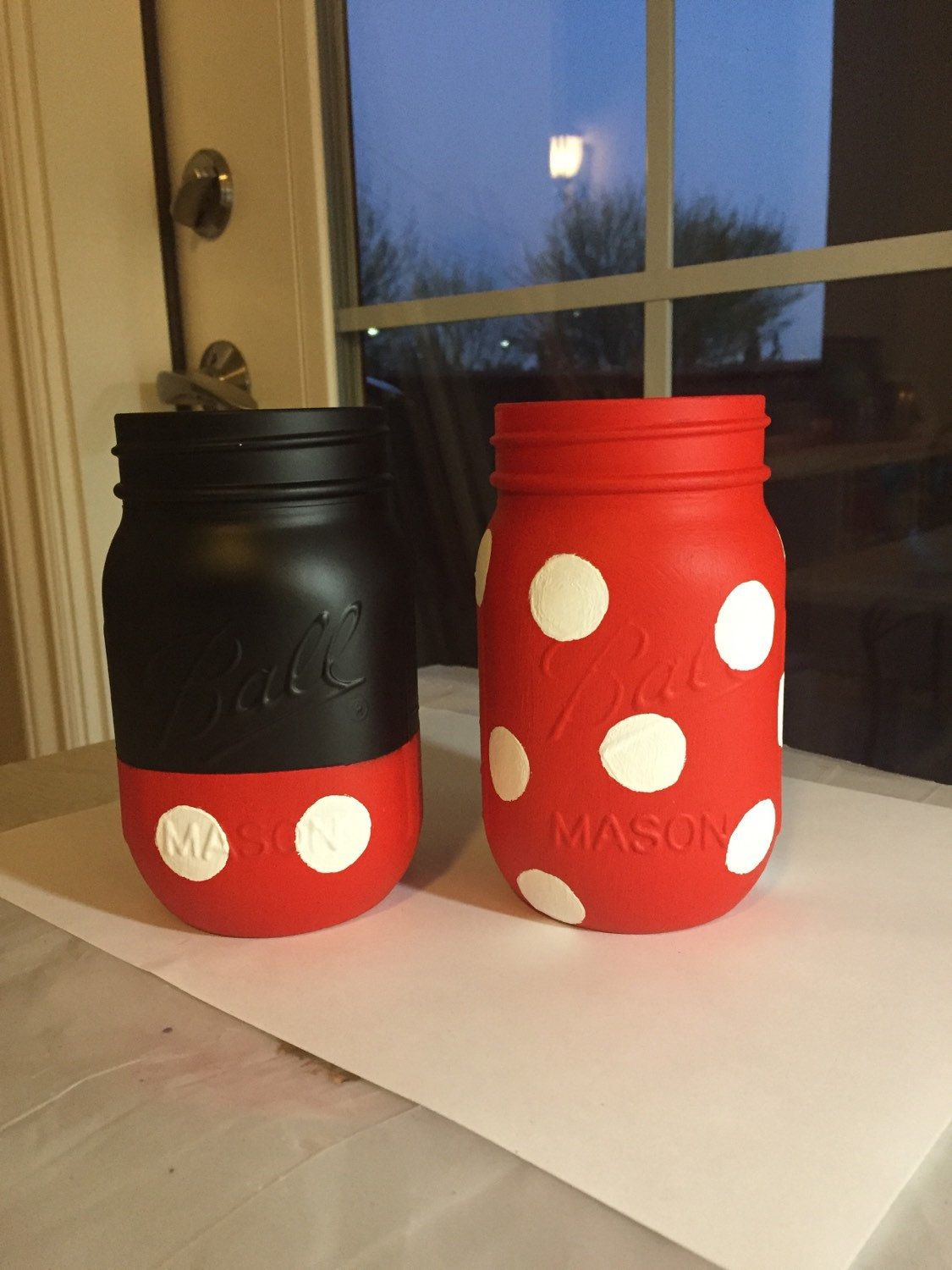 Mickey and Minnie Mouse Chalk Finish Painted Mason Jars Set. Minnie ...