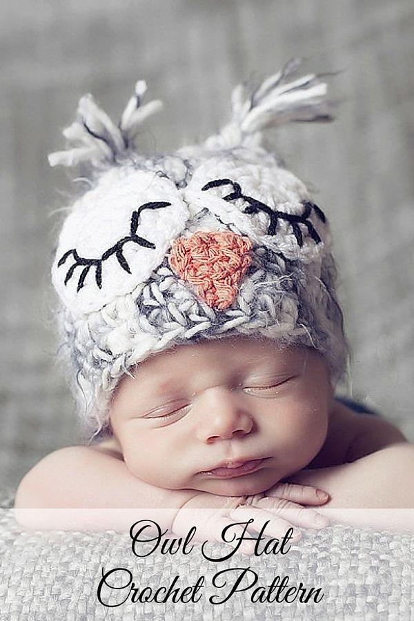 Crochet Pattern - Crochet Owl Hat Pattern   Gorros, Bebé y Tejido