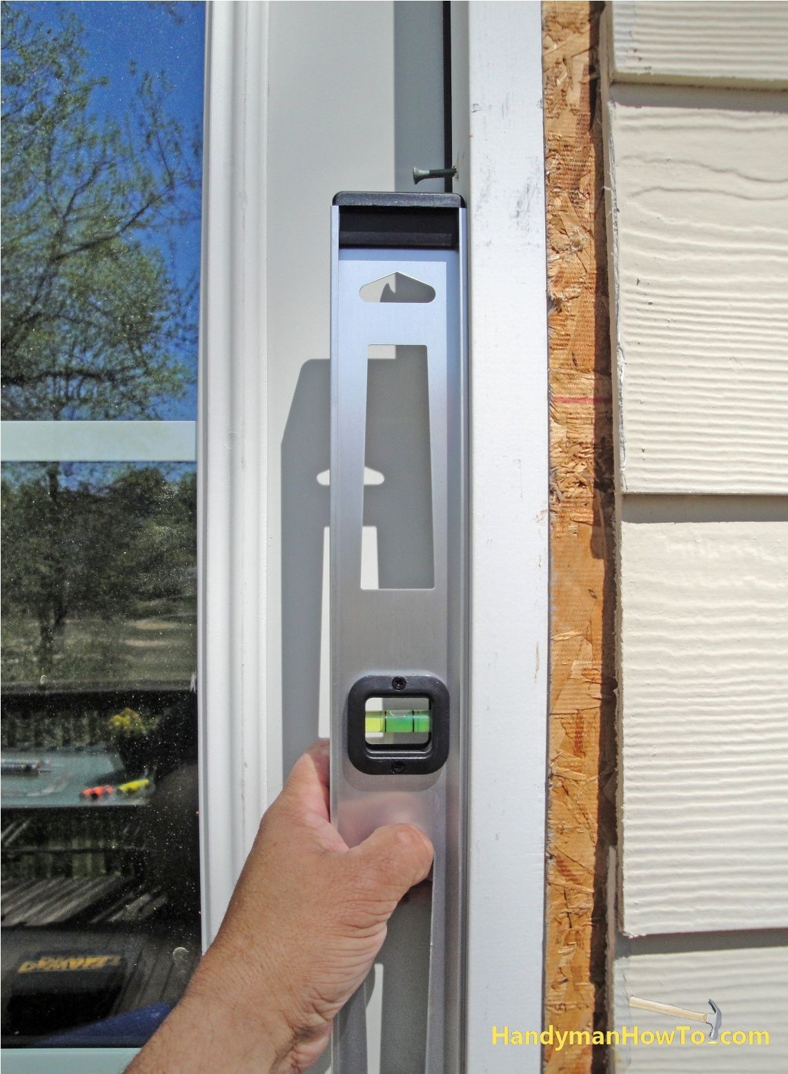 Plumb The Hinge Side Of The Exterior Door Frame With A Level Exterior Door Frame Exterior Doors Frames On Wall