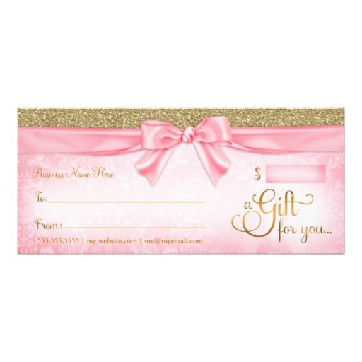 Pink Faux Glitter Gift Certificates, gift cards, girly, pink, bows - fresh younique gift certificate template