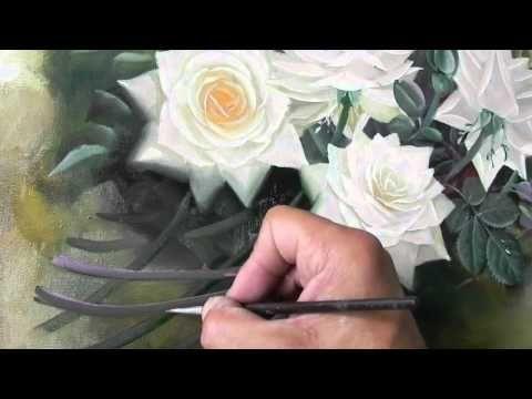 pintando um quadro de rosas parte 3 - YouTube