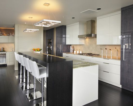 love the bar stools and two level Modern Kitchen Gray Modern Kitchem ...