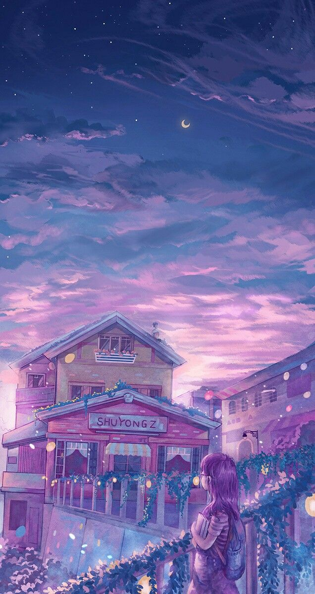 Pink and purple sky beautiful anime art anime scenery - Anime sky background ...