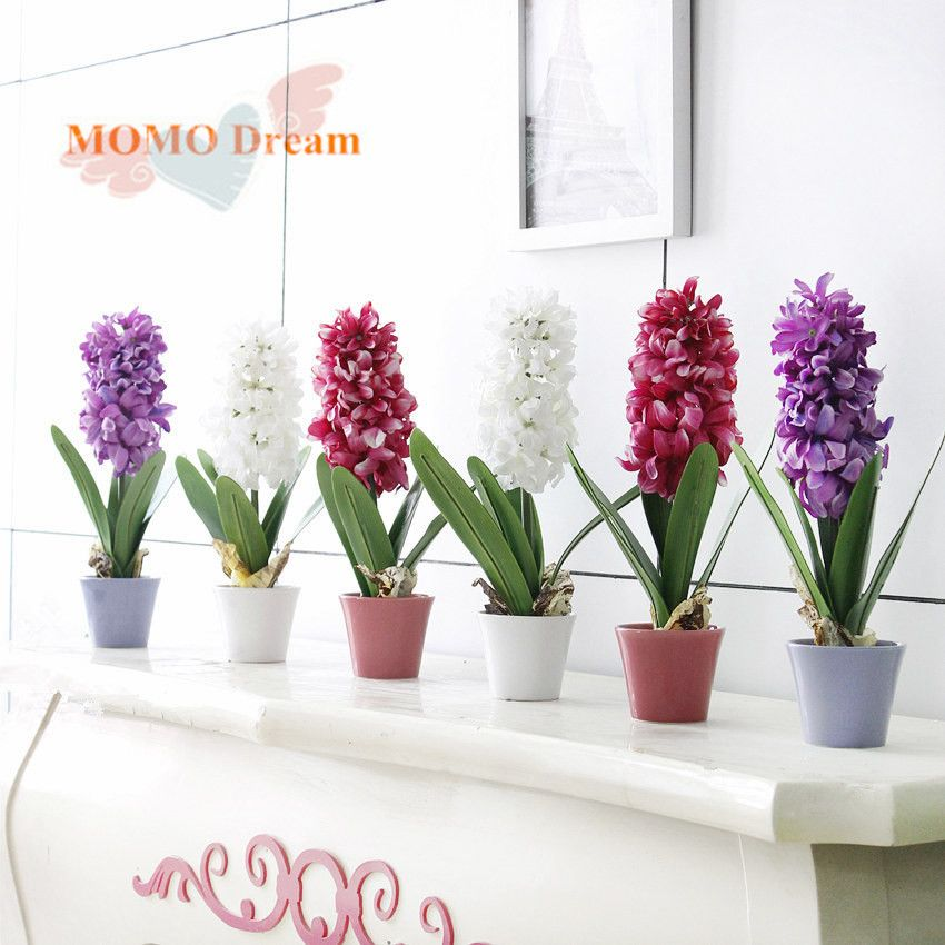1pcs Potted Hyacinth Artificial Flowers Silk Flower 3 Color Options