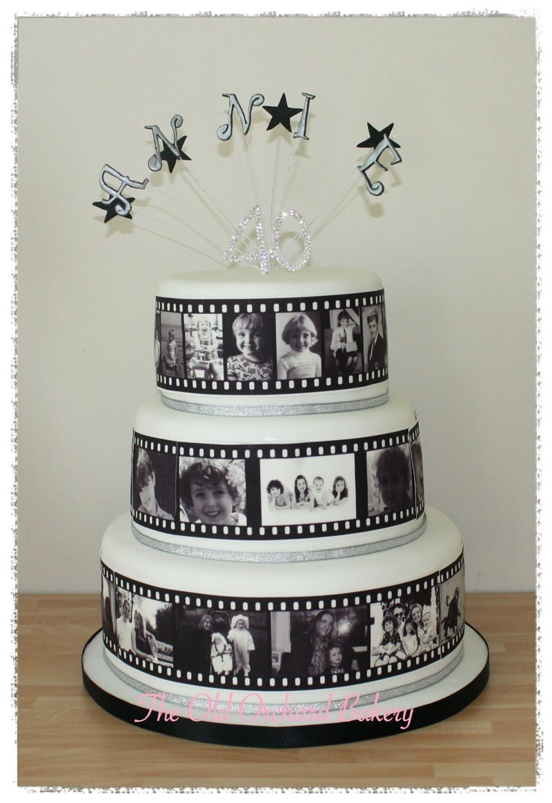 Photo Film Strip Cake 3 Tier 40th Birthday With Edible Photos Making Up A Going Round The Sides Of Cakes