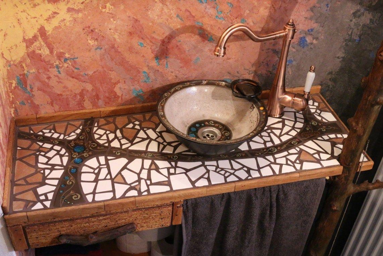 Mosaik-Waschtisch und Waschbecken selber machen  Waschtisch