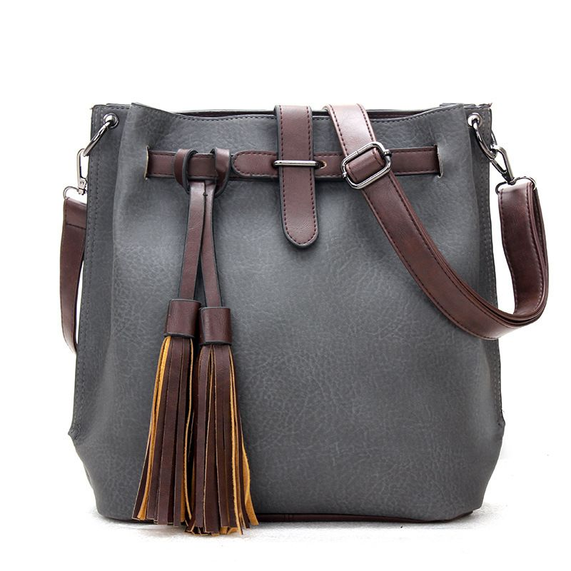 98d4d6c8205 2016 Fashion Scrub Women Bucket Bag Vintage Tassel Messenger Bag Large Retro  Shoulder Bag Simple Crossbody