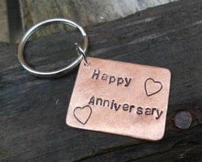 Year happy wedding anniversary keyring copper handmade