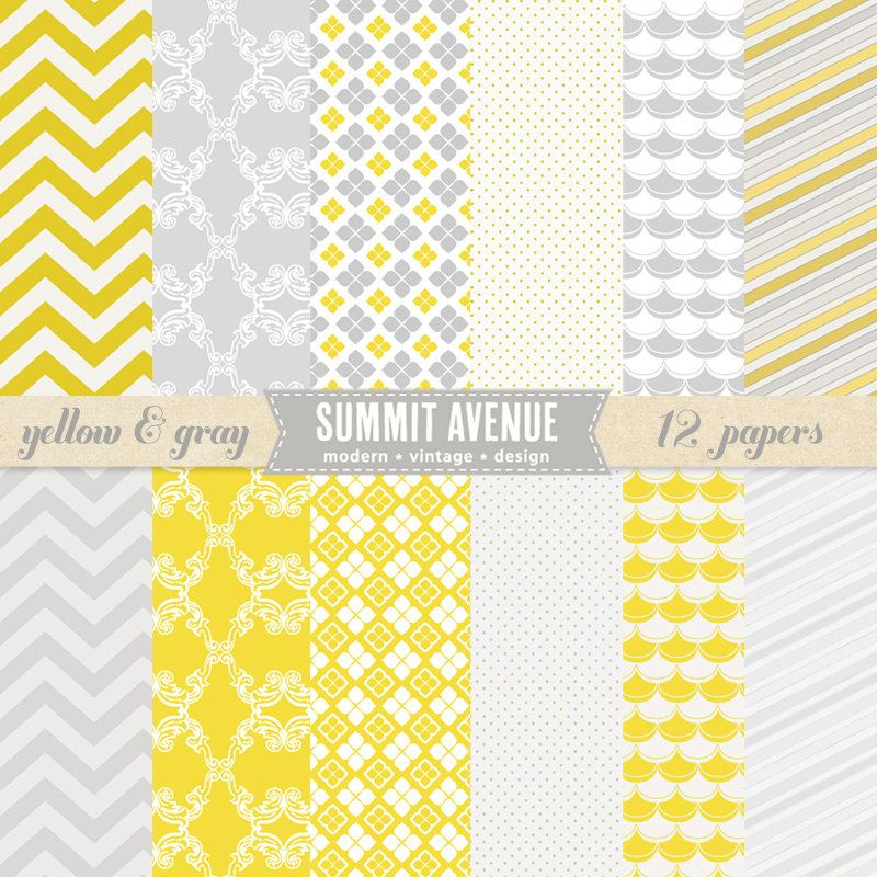 Yellow And Gray Digital Scrapbook Paper Pack Patterns For