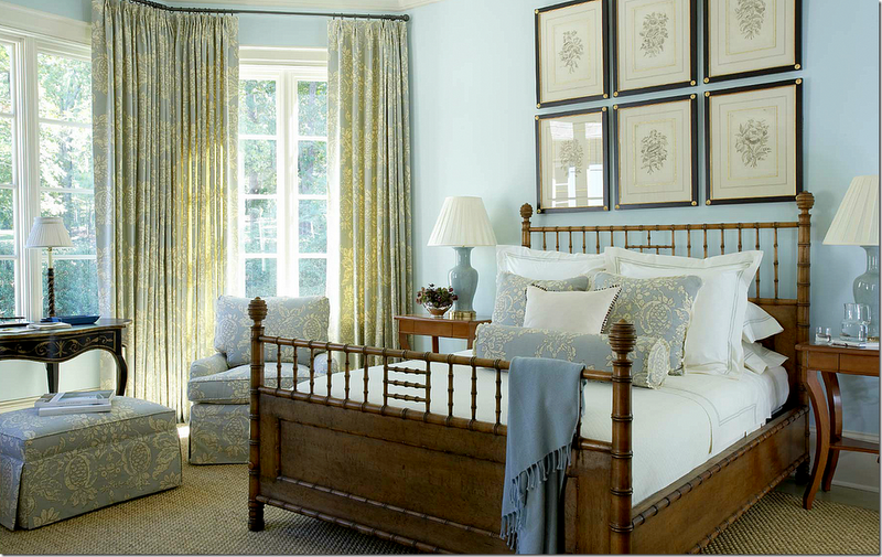 Love the soothing color scheme and restful fabrics in this guest bedroom by Suzanne Kasler