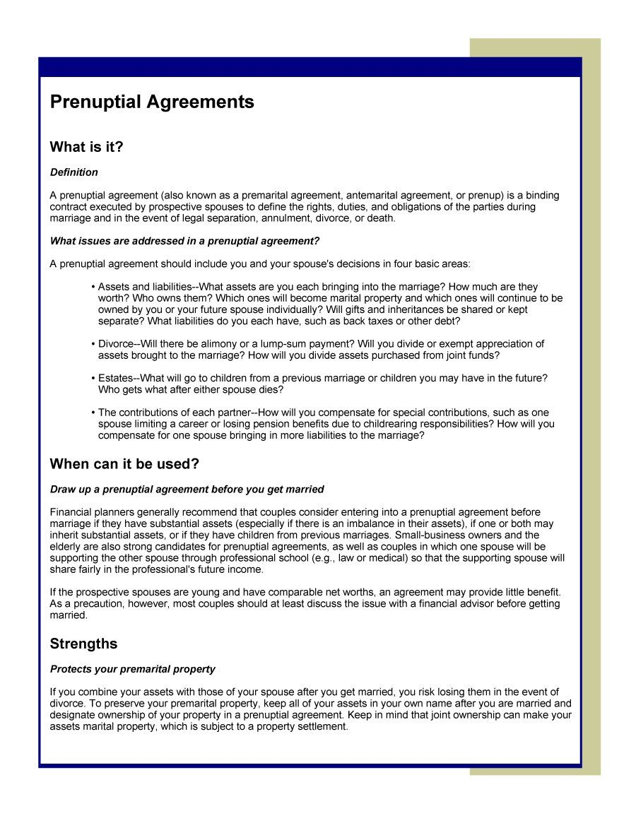 Prenup Agreement Template The North Carolina Sample Can Free