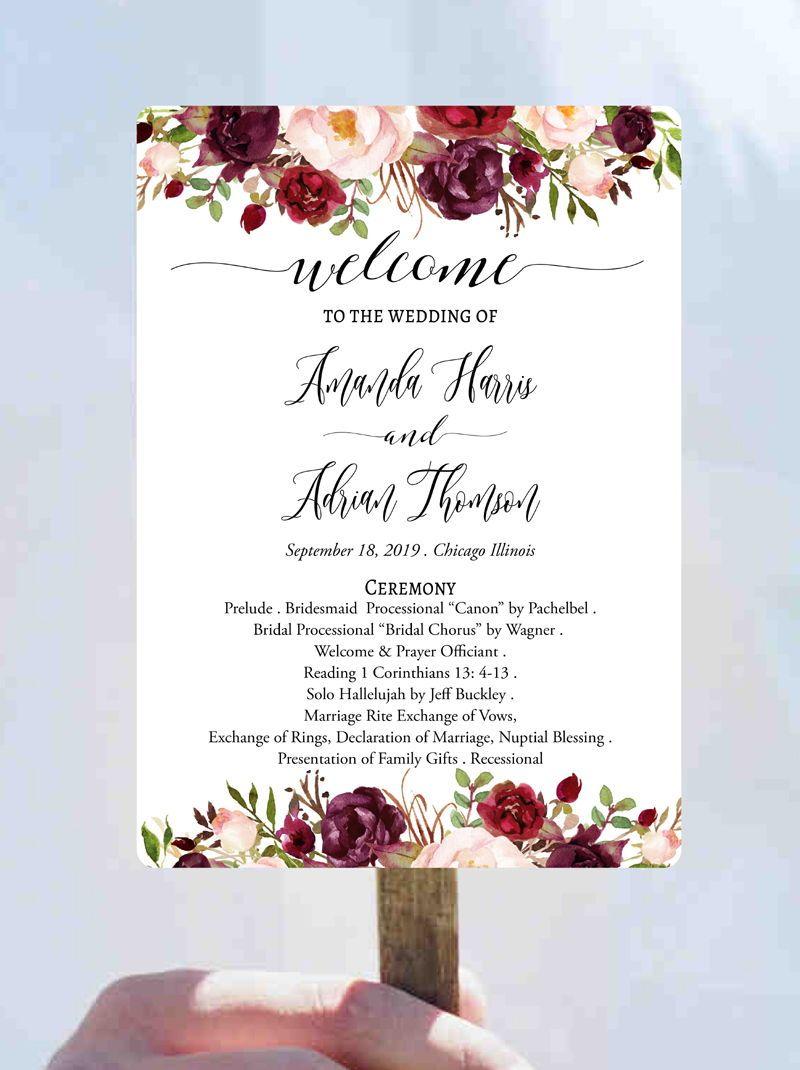 Yellow flowers design Event Program fans Program Fan Wedding Program Wedding Fan Programs Program Fan Wedding Fan