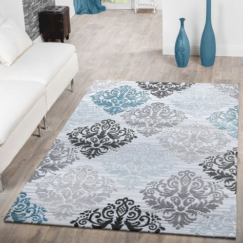 Teppich Modern Glitzergarn Kurzflor Barock Design Türkis Grau Weiß - teppich wohnzimmer grau