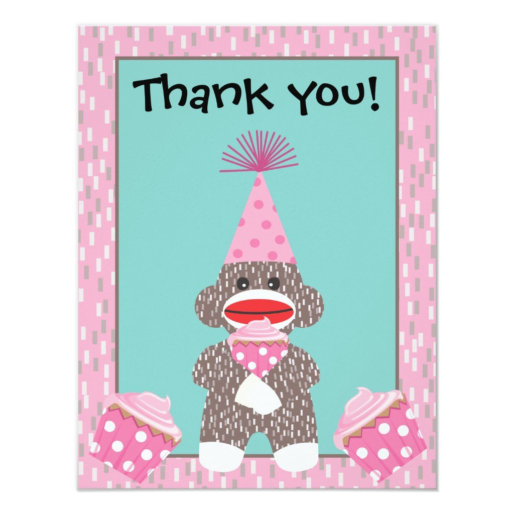 Baby Sock Monkey Cupcake Thank You Note Card
