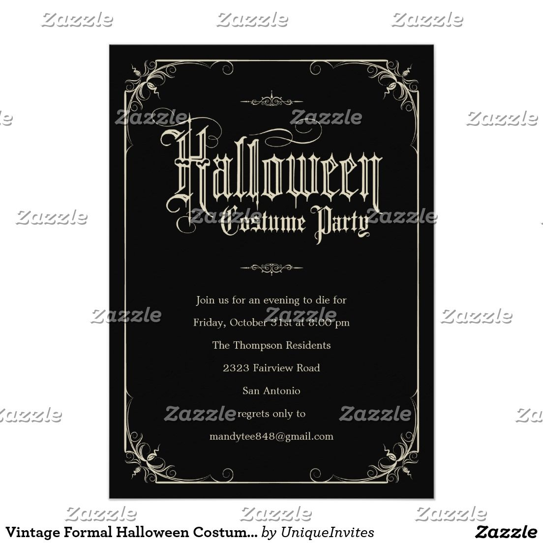 Vintage Formal Halloween Costume Party Invitations | Halloween ...