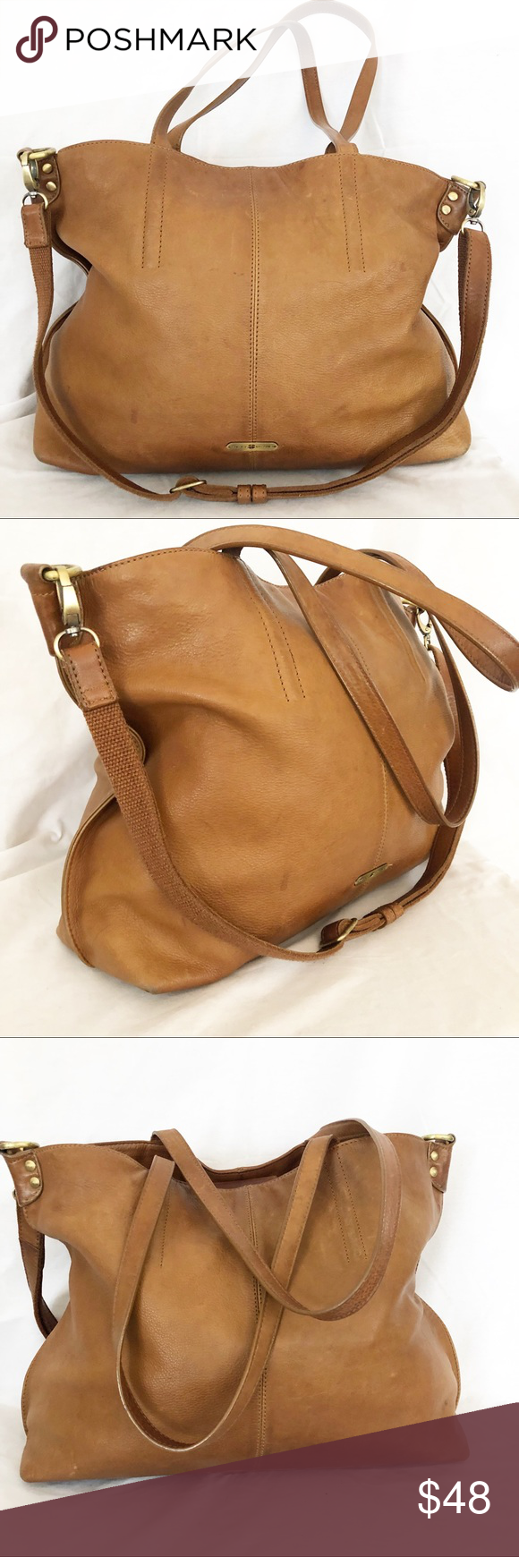 Lucky Brand brown leather hobo bag purse large Lucky Brand light brown 100%  leather hobo 345991f3ce
