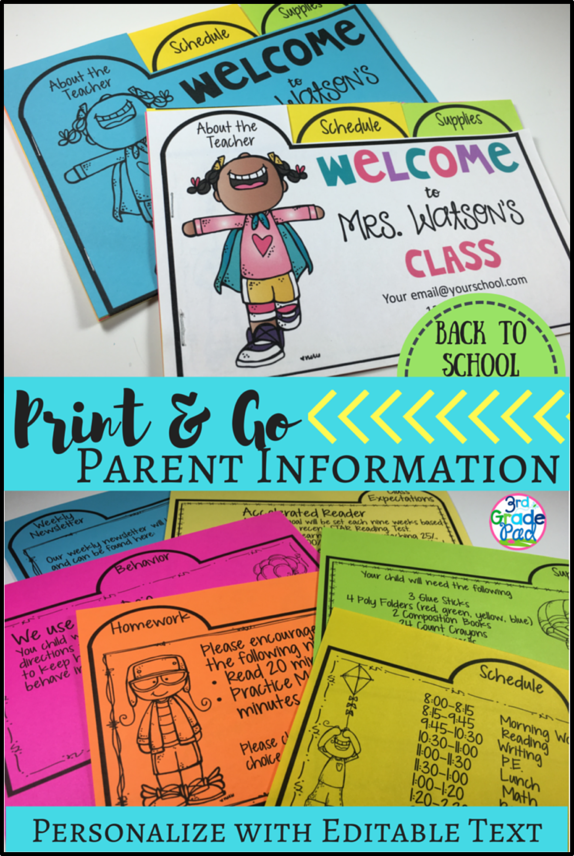 Back To School Parent Information Flip Book  Simple Prints Open