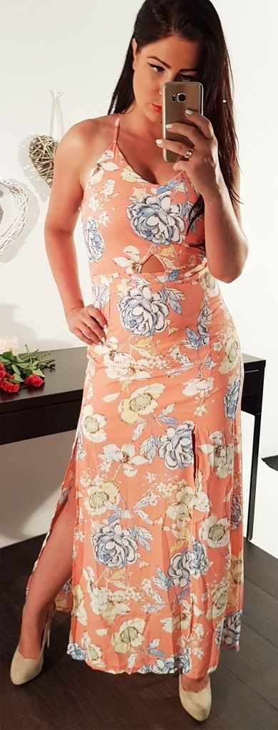 **All Over Floral Slit Sides Criss Cross Back Sleeveless Maxi Dress** (More Colours Available)