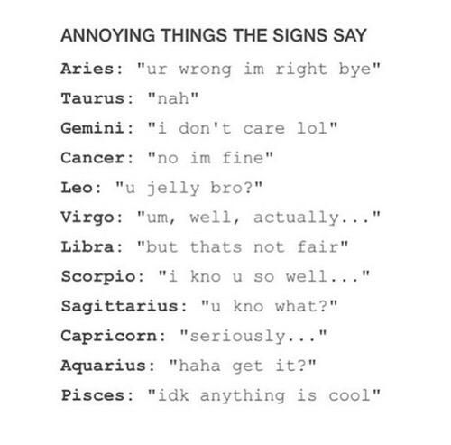 Annoying things the signs say