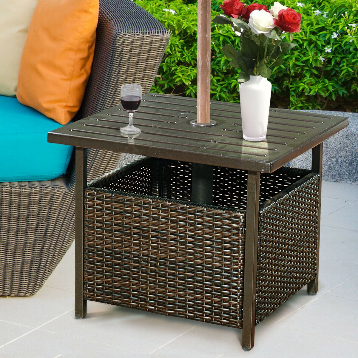 Free 2 Day Shipping Buy Costway Brown Rattan Wicker Steel Side Table Outdoor Furniture Deck Garden Patio In 2020 Metal Side Table Outdoor Furniture Wicker Side Table