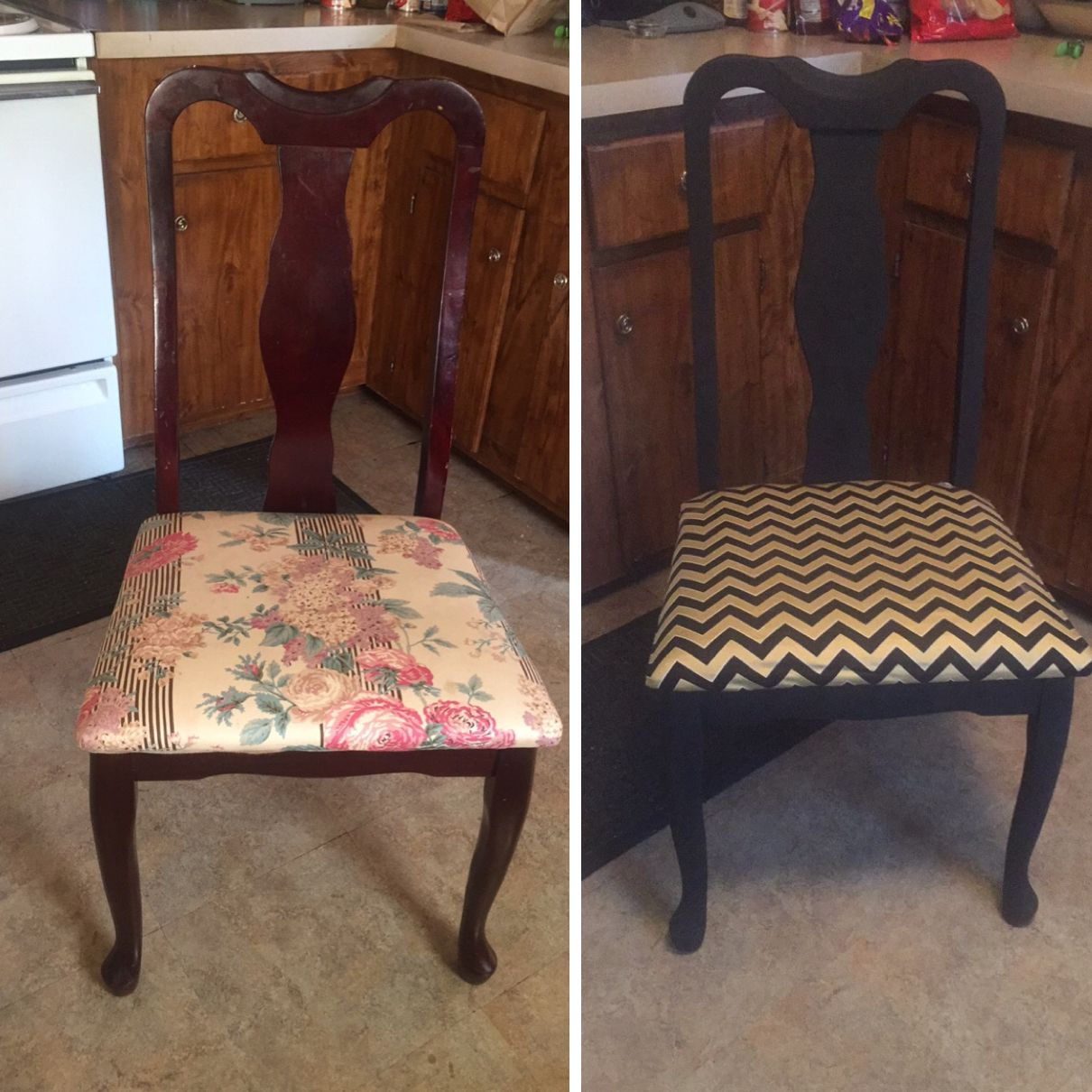 Redone some old kitchen chairs spray painted them matte black and recovered the chairs with new fabric