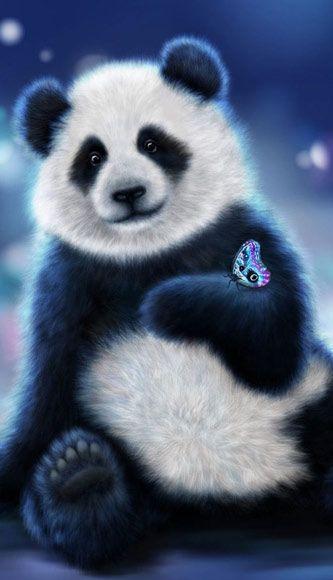 Fantasy Wallpapers And Backgrounds Download Fantasy Cute Panda And Butterfly Wallpaper At Www Freecomputerdesk Cute Panda Wallpaper Panda Images Panda Artwork