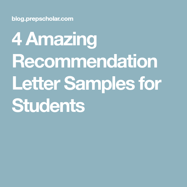 Amazing Recommendation Letter Samples For Students  Writing