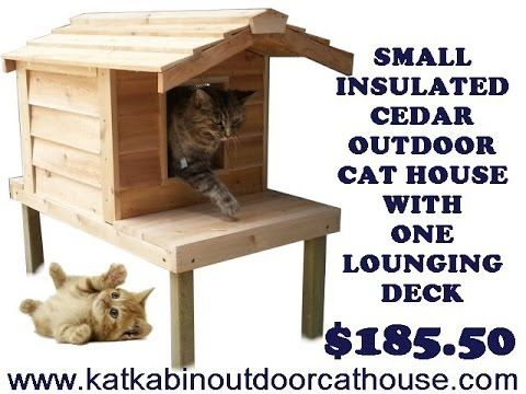 Small Insulated Cedar Outdoor Cat House With One Lounging Deck Smallinsulatedcedaroutdoorcathousewitho Outdoor Cat House Insulated Cat House Cat House Plans
