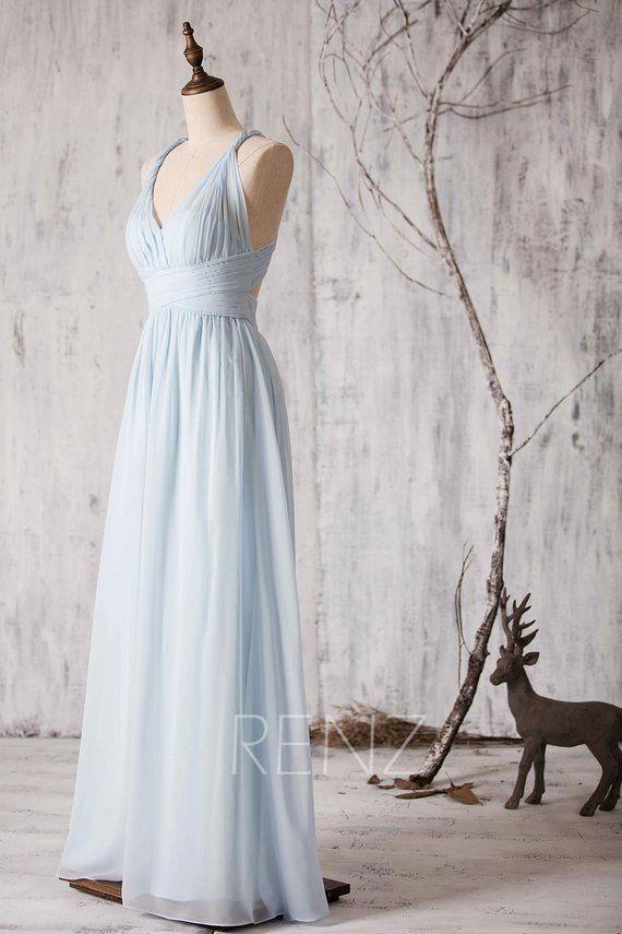 Bridesmaid Dress Light Blue Chiffon Party Dress V-neck Prom Dress Criss Cross Strap Evening Dress A-line Formal Dress Wedding Dress(Z048)