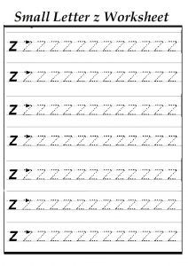 Small Z Worksheet For Kindergarten   Practice Tracing Line Letter Z  Worksheets For 1st Grade