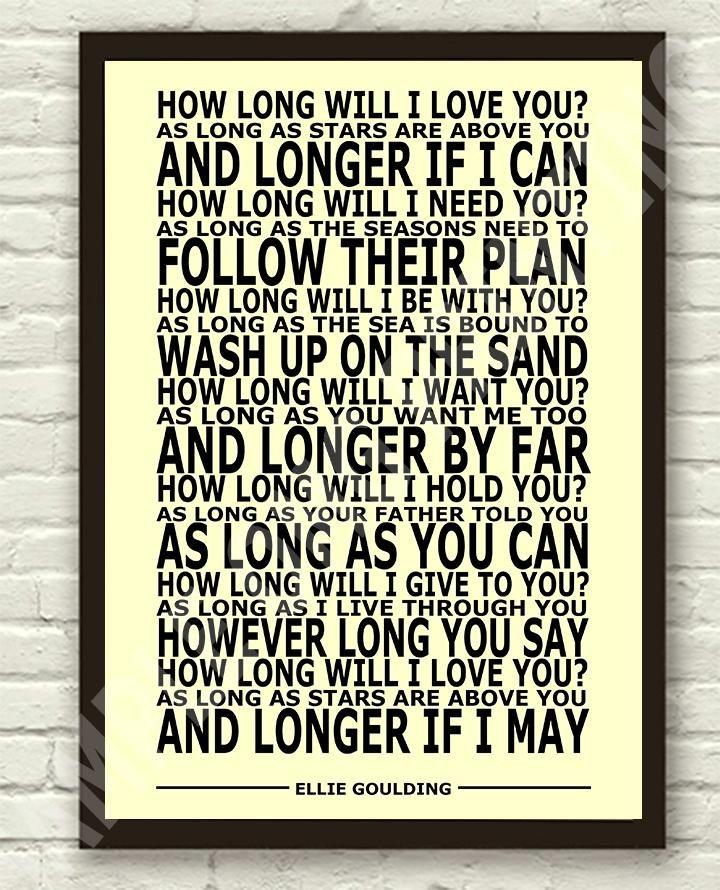 Baby Girls PINK Nursery Print ELLIE GOULDING lyrics How long will I love you?