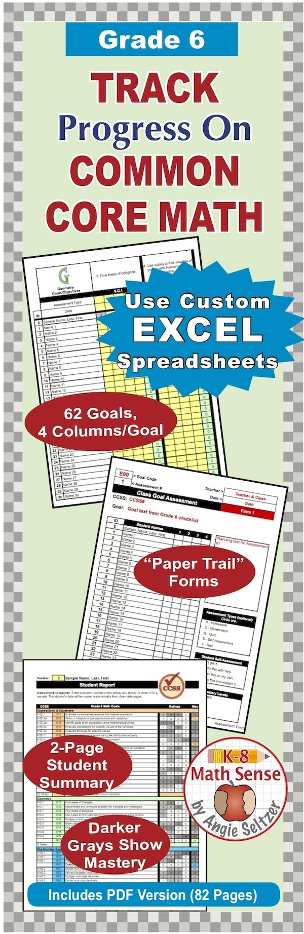 Grade  Common Core Math Excel Goal Tracker Spreadsheet With Paper