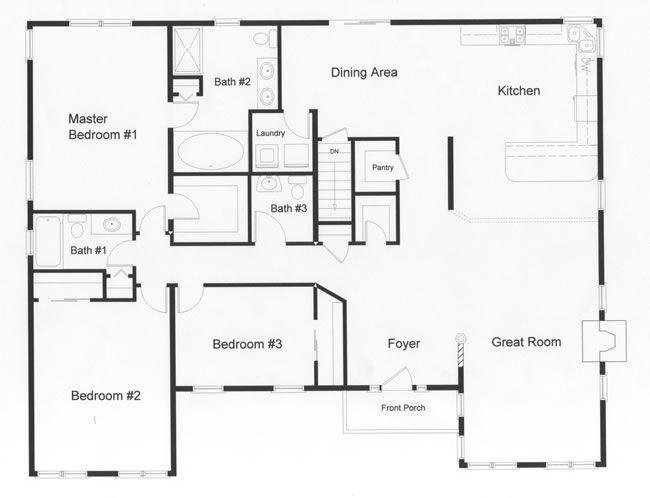 Slide Bedroom 2 Back And Have Master Extend Out Back Floor Plans Ranch Basement Floor Plans Bedroom House Plans