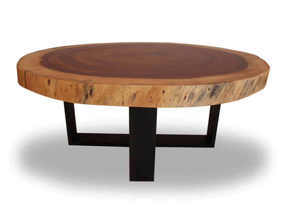 Round solid wood table blackened metal base round raw for Wood slab coffee table