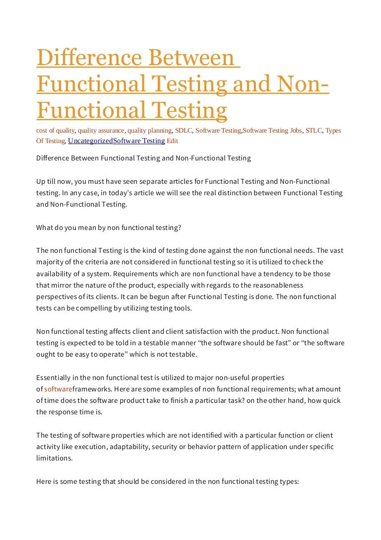 Functional Testing And NonFunctional Testing Business Press