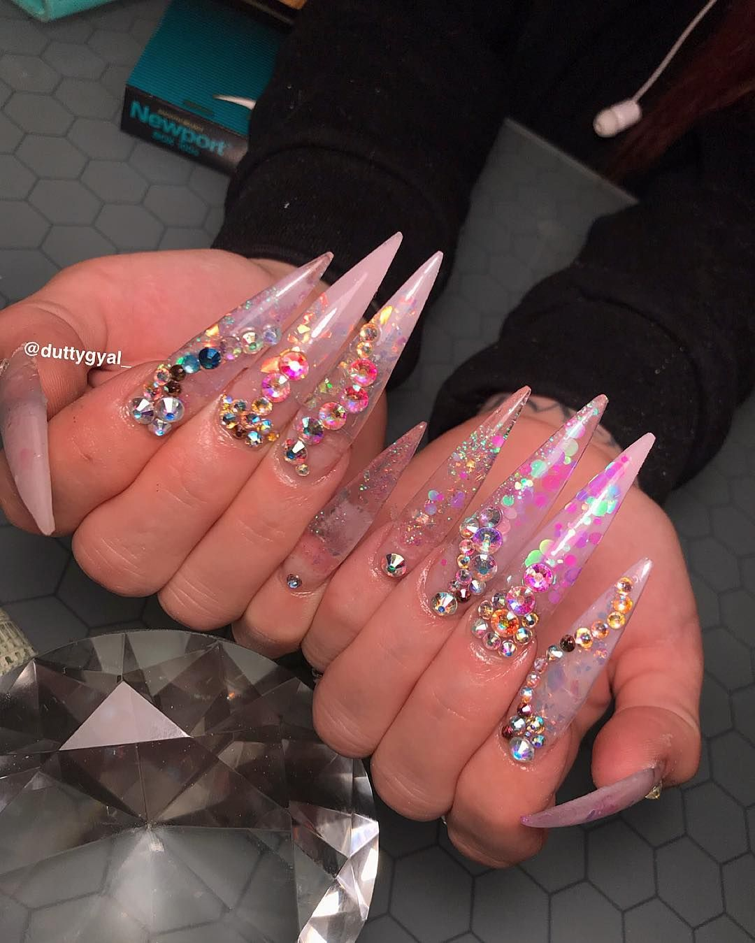 On Instagram Long Acrylic Nails Shimmery Nail Nails