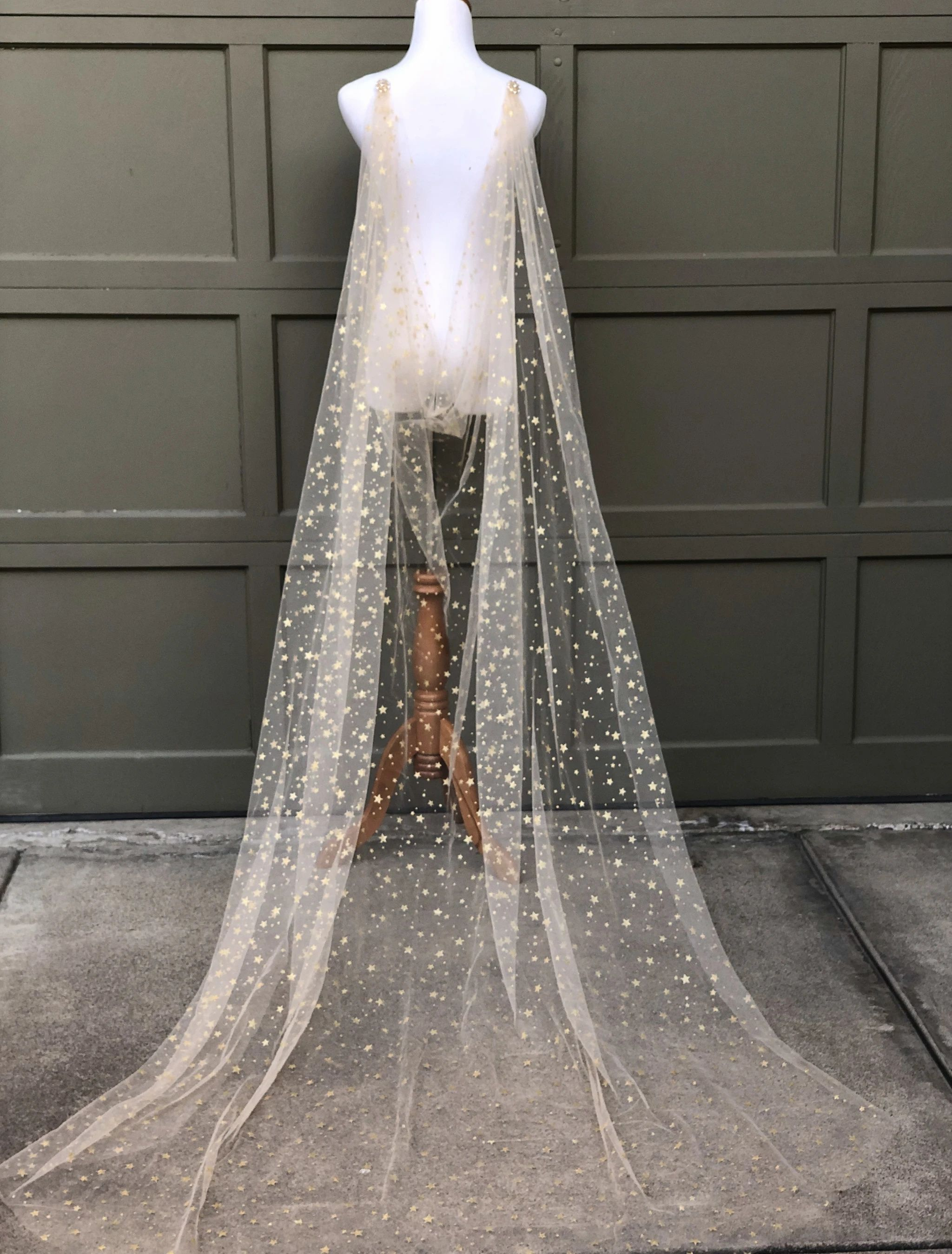 Celestial Sparkly Gold Star Draped Wedding Cape Sheer Long Bridal Wrap With Beaded Pins In 2020 Wedding Cape Veil Bridal Cape Wedding Cape