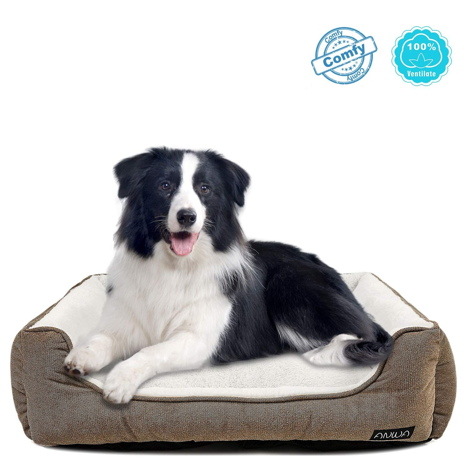 ANWA Durable Dog Bed Machine Washable Large Dog Bed Square