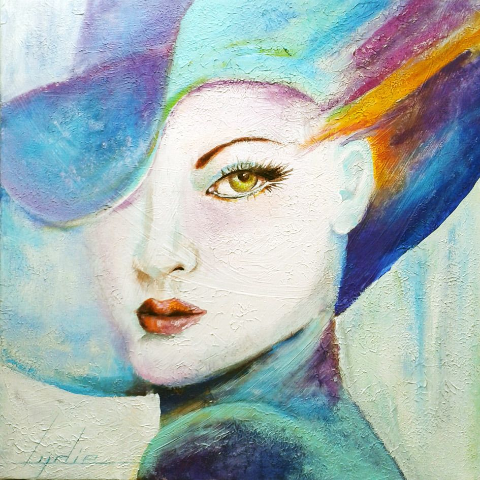 Charlotte femme au chapeau bleu peinture acrylique for Pinterest peinture
