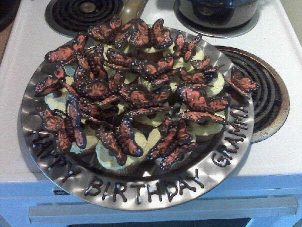 grammies birthday...chocolate monarch butterflies...mmmmm