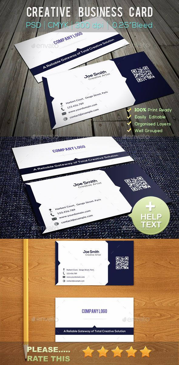 Creative business card business card ideas pinterest business creative business card by features print ready in psd format photoshop extended format easily editable cmyk mode 300 dpi high resolution dimension reheart Gallery