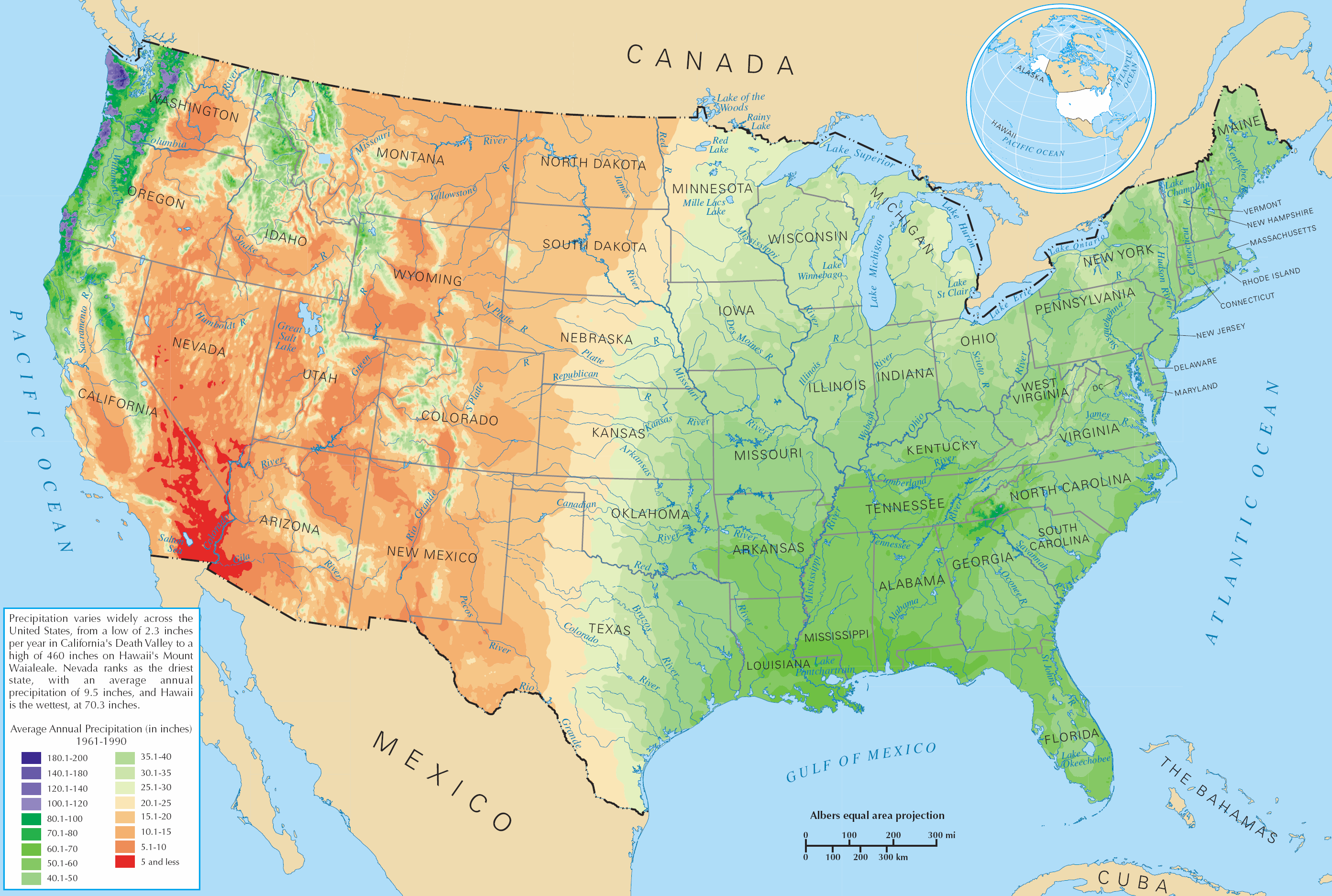 Average Precipitation In The Lower States Of The United States - Contiguous us hillshade map
