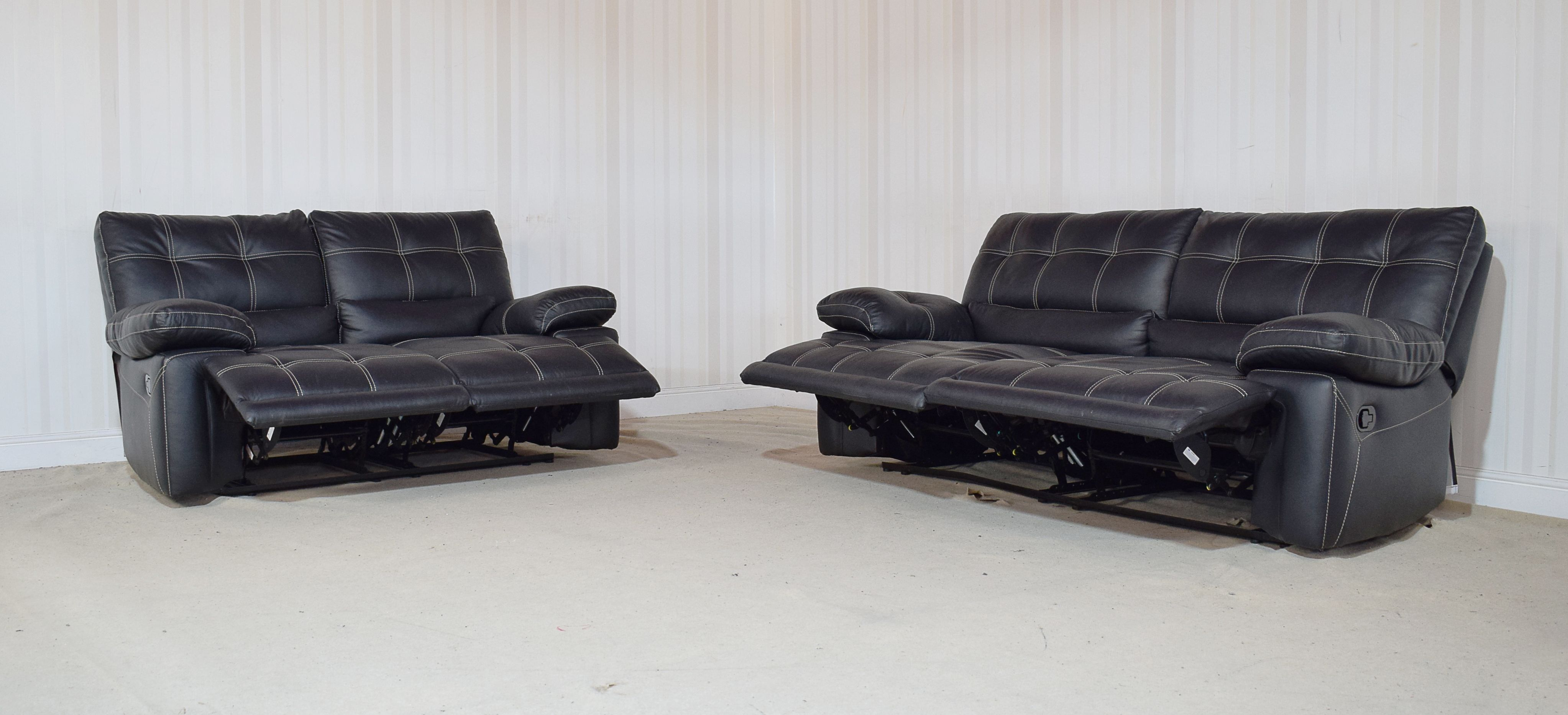 Leather Black G Max manual recliner 3 seater + 2 seater sofas (8) in ...