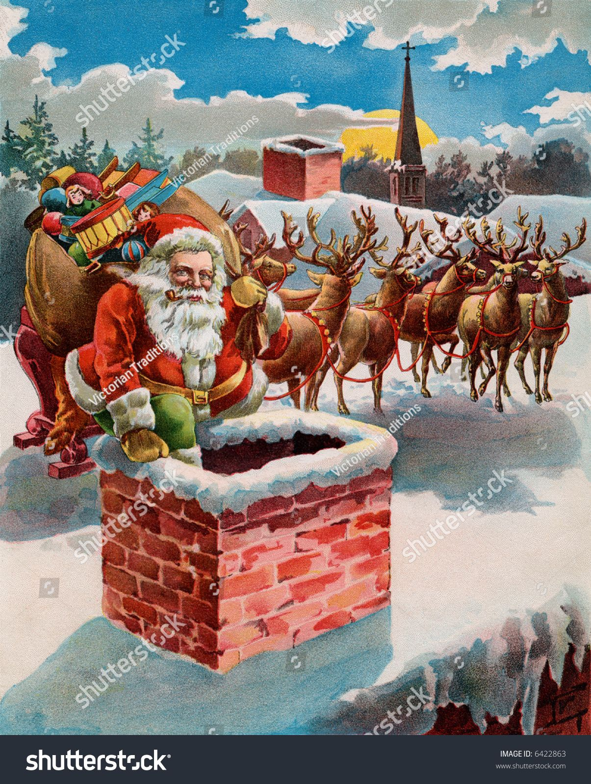 Found On Bing From Www Shutterstock Com Reindeer And Sleigh Santa And Reindeer Vintage Santas