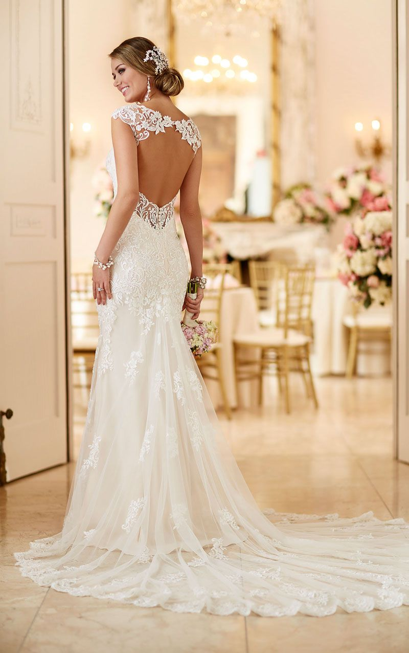Open back lace wedding dresses  Open Back Queen Anne Neck Allover Lace Stylish Mermaid Wedding Dress