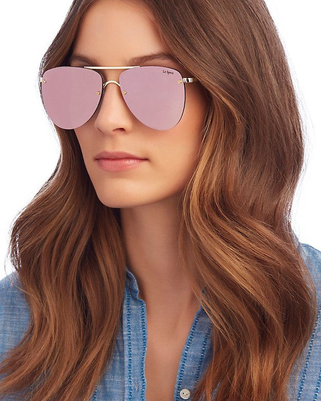 891ed83d3cc Le Specs The Prince Pink Rose Mirrored Lense Aviator Sunglasses ...
