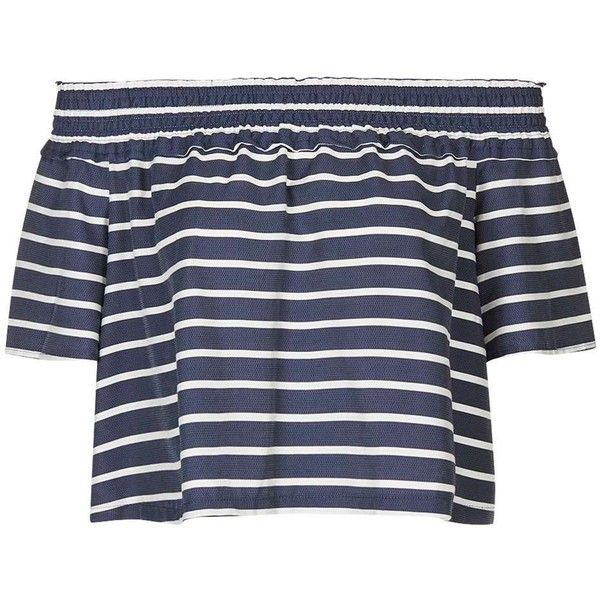 Navy and White Striped Bardot Frill Top with Frill Sleeves